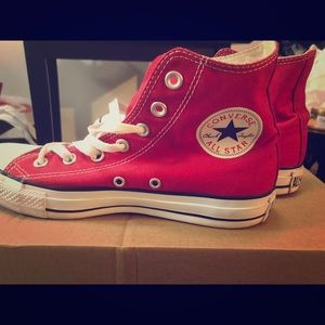 Red Converse Chuck Taylor High Top Sneakers